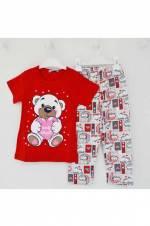 4085 Baskılı Pijama Takımı Kırmızı 5 Yaş