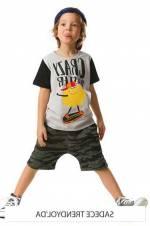 Gri Siyah Erkek Çocuk Çalı Kamuflaj Baggy Takım MS-18Y2-016