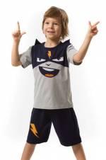 Gri Lacivert Erkek Çocuk Cool Şimşek Şort Takım MS-18Y1-010
