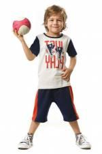 Turuncu Lacivert Erkek Çocuk Just Play Şort Takım MS-18Y1-078