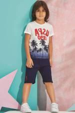 Ekru Us Polo Erkek Çocuk Bermuda Takım - 6170