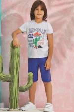 Gri Us Polo Erkek Çocuk Bermuda Takım - 6199