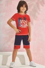 Kırmızı Us Polo Erkek Çocuk Bermuda Takım - 6187