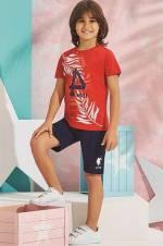 Kırmızı Us Polo Erkek Çocuk Bermuda Takım - 6194