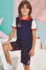 Lacivert Us Polo Erkek Çocuk Bermuda Takım - 6166