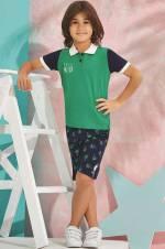 Yeşil Us Polo Erkek Çocuk Bermuda Takım - 6165