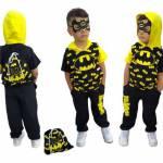 Erkek Çocuk Eşofman Kombin 3Lü Set - Yazlık Çanta Kapşonlu Tshirt Eşofman 3Lü Set- Batman Kostüm